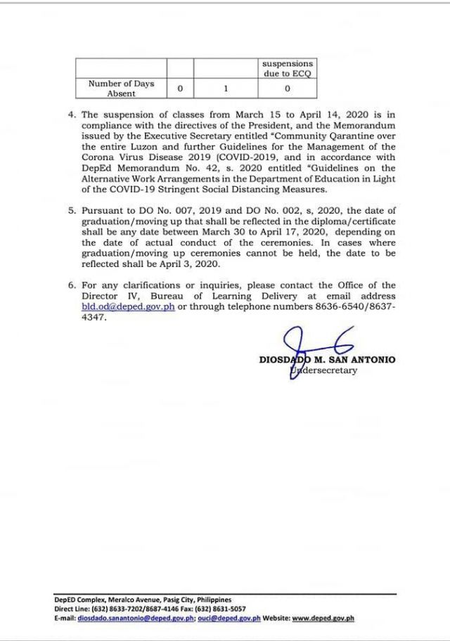 Advisory on the official number of schooldays 2